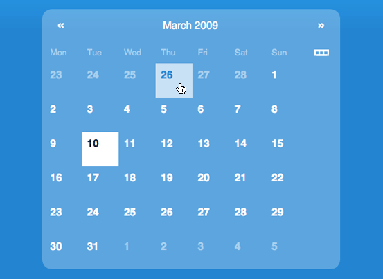 Monthly calendar navigation